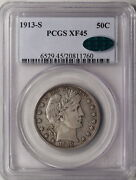1913-s Barber Half Dollar Pcgs And Cac Xf-45 A Much Better Date. Pop 1 Cac