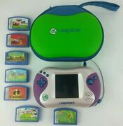 Leap Frog Leapster 2 Pink With Case And 7 Games W/ Spongebob Through The Wormhole