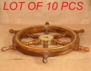 Antique Pirates 6 Spoke Shipand039s Wooden Wheel 24 With Brass Centre Section Decor