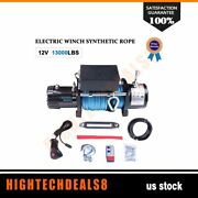 13000lb 12v Electric Winch Synthetic Cable Rope Truck Trailer Atv Utv Off-road