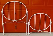 Beautiful Antique Twin Size Ornate White Iron Bed Headboard And Footboard