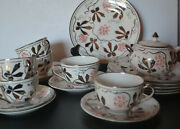 Grays Pottery Hand Painted Six Cups With Saucers,6,cake Plates ,sugar Bowl