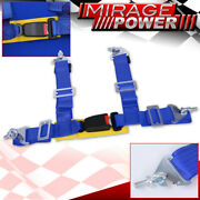 2 Blue 4 Point Harness Racing Seat Belt Snap On Off Latch Safety Buckle Lock