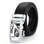 Mens Jeans Belts Cowskin Leather Gold Silver Solid Alloy Metal Buckle Striped