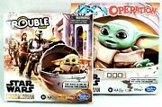 Star Wars Mandalorian Board Game Lot Of 2 - Trouble And Operation Baby Yoda