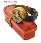 Antique Nautical Brass Watch Style Compass Collectibles With Leather Case