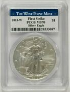 2013-w Burnished American Silver Eagle 1 Pcgs Ms70 First Strike 28333087