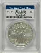 2013-w Burnished American Silver Eagle 1 Pcgs Ms70 First Strike 28333096