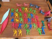 Lot 44 Vtg Bright Color Plastic Cowboys Indians Toy Figures Horse Canoe Teepee