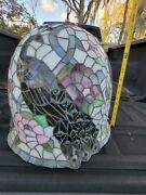 Antique Peacock Stained Glass Lamp Shade Vintage Light Hanging Bird