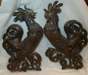 Vtg Pair Metal Wall Hanging Rooster Chickens Plaque Birds, Sexton Usa
