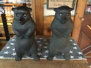 Vintage - Cast Iron Bears Andirons With Yellow/green Glass Eyes - Rare