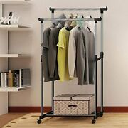 Portable Rolling Clothes Rack Single Hanging Garment Bar Very Great Hanger