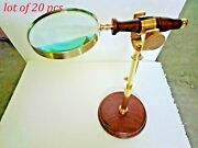 Brass Magnify Desk And Table Magnifying Glass With Wood Base Newly