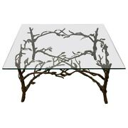 Handcrafted Wrought Iron Tree Branches And Glass Coffee Table Style Of Giacometti