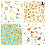 Easter Chicks Printed Digital Printed Cotton Fabric By The Yard