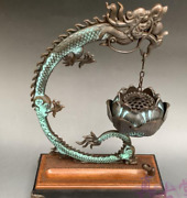 Chinese Bronze Tire Dragon Incense Burner Ornaments Hanging Furnace Statues