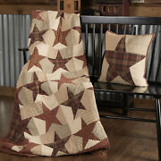 New Primitive Country Farmhouse Quilted Patchwork Abilene Star 70 X 55 Throw