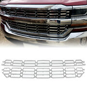 Snap On Grille Overlay Cover Inserts Chrome For 2016-2018 Chevy Silverado 1500