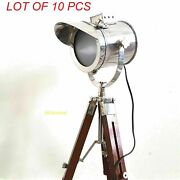 Antique Brass Spot Light With Wooden Tripod Stand Floor Lamp Vintage Home Decor