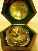 Maritime Gilbert And Sons London Antique Brass Sundial Compass With Hardwood Box