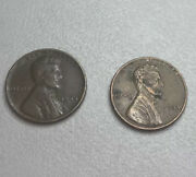 2 Rare 1944 Lincoln Cents Wheat Pennies