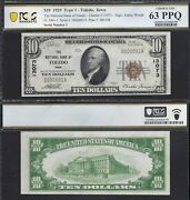 10 1929-1 Nbn=the National Bank Of Toledo Ia=ch 13073=sn 1 Pcgs Ch. Unc 63ppq