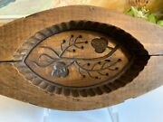 Antique 19thc French Wood Butter Mold Stamp Print Carved Berry And Leaf Farmhouse