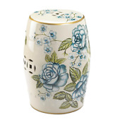 Blue Beige Flower Ceramic Outdoor Furniture Stool End Table Side Plant Stand