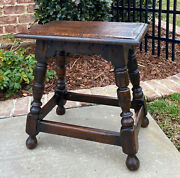 Antique English Oak Joint Stool Footstool Bench Pegged Turned Post 18 T C.1930s