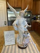 Lladro 6352 Guardian Angel W/ Wooden Base And Certificate Authentication - Perfect