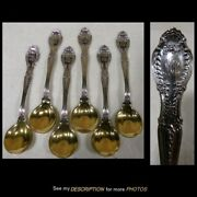 6 Antique Sterling Silver Sherbet / Ice Cream Spoons Richelieu Gold Wash