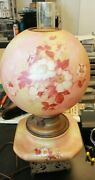 Antique Gone With The Wind Globe Parlor Hurricane Hand Painted Lamp Pink Flower