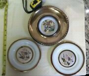Lot Of 3 Plates Art Of Chokin 24k Gold And Birds In Brass Frame