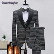 Menand039s Wedding Tuxedo Slim Fit Formal For Groom With Black Peaked Lapel 3 Pcs