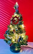 Vintage Artificial Christmas Tree Electric Pre Decorated Table Top 13andrdquo