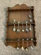 Vintage Wood Collectible Spoon Display Rack Jewelry With Vtg Coll Spoons Lot