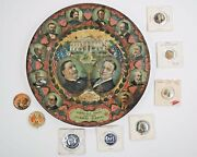 Spectacular 1908 President William H. Taft Gop Tin Tray Plate And Pinback Buttons