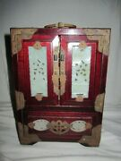 Vintage Chinese Wooden Decorated Jewelry Box