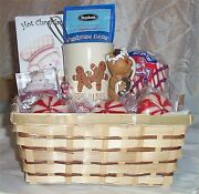 Gingerbread Basket Mug Whisk Candy Cane Cocoa Chocolate Peppermint Sticks Candle