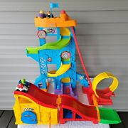 Fp Little People Race Track Loops Ramps Garage With 4 Cars Lot