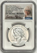 2019 1oz Canada Silver Peace And Liberty Ultra High Relief Ngc Reverse Pf 70 Rare