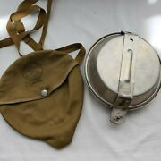 Vintage Boy Scouts Of America Aluminum Pan Mess Kit Set Canvas Pouch With Strap