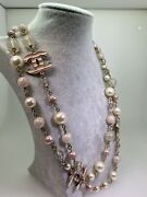 Pearl And Pink, White Enamel Striped Cc Opera Length Necklace, Pink Gold.
