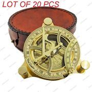 Brass Sundial Compass Front Opening 11cm Pocket Compass With Round Leather Case