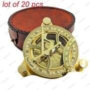 Nautical Brass Antique Victorian Vintage Pocket Compass With Carry Leather Case