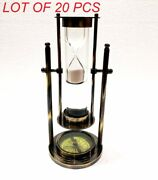 Vintage White Sand Timer Antique 9 Solid Brass Ship Wheel Maritime Hourglass