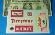 Trains Slot Cars Clear Water Slide Decals Firestone Champion Sinclair Signs