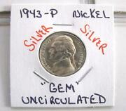 1943-p Gem Uncirculated Jefferson Silver Wartime Nickel Free Shipping In U.s.a.