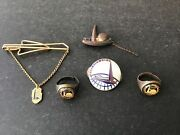 1939 New York Worlds Fair Jewelry Lot Sterling Pin Tie Clip 2 Rings Free Ship